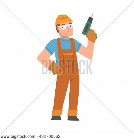 Handyman Or Fixer As Skilled Man In Overall With Drill Engaged In Home Repair Work Vector Illustrati