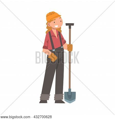 Handyman Or Fixer As Skilled Woman In Overall With Shovel Engaged In Home Repair Work Vector Illustr