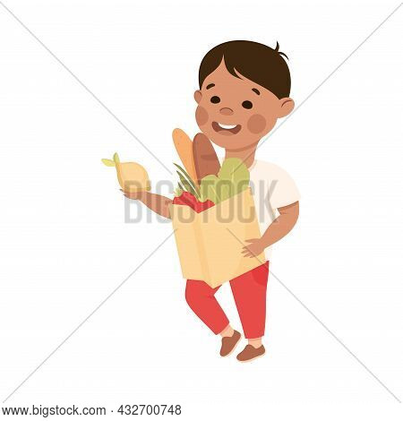 Cute Boy Doing Housework And Housekeeping Carrying Shopping Bag Vector Illustration