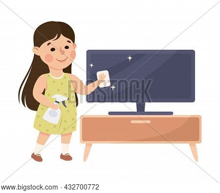 Cute Girl Doing Housework And Housekeeping Wiping Tv Set Screen With Wet Towel Vector Illustration