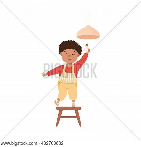 Cute Boy Doing Housework And Housekeeping Standing On Chair Screwing In Light Bulb Vector Illustrati