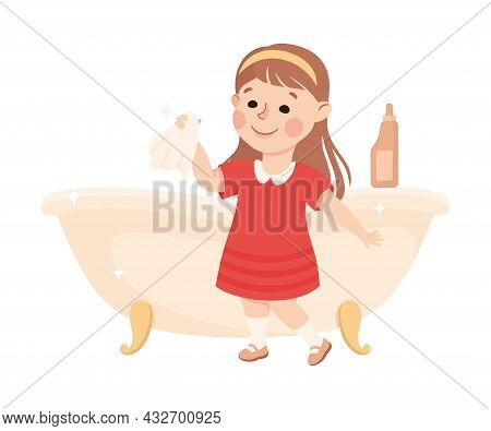 Cute Girl Doing Housework And Housekeeping Washing Buthtub With Wipe And Detergent Vector Illustrati