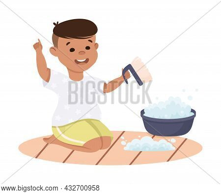 Cute Boy Doing Housework And Housekeeping Rubbing Carpet With Brush And Soap Vector Illustration