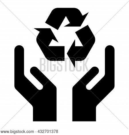Hope Icon, Human Hand With Eco Symbol, Help And Protection Graphic Design, Support Vector Illustrati
