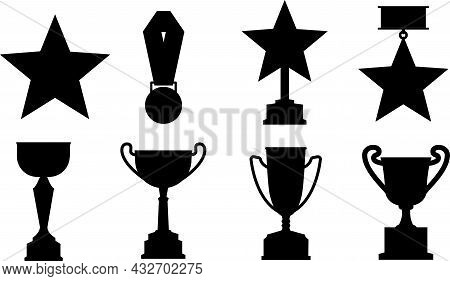 The Silhouette Of The Cups. Vector Cup With Victory Trophy.