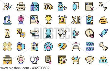 Veterinary Clinic Icons Set. Outline Set Of Veterinary Clinic Vector Icons Thin Line Color Flat Isol