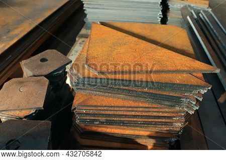 Metal Products Cut On A Plasma Cutting Machine. Sheet Metal Cutting At The Factory.