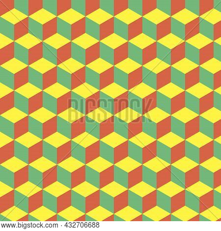 Seamless Abstract Cube Pattern. Colorful Geometric Isometric Vector Wallpaper. Endless Pattern Backg