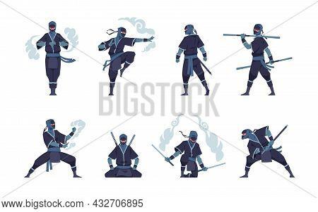 Ninja Character. Fighting Japanese Warrior With Ancient Weapon. Shinobi Mascot Standing In Fight Pos