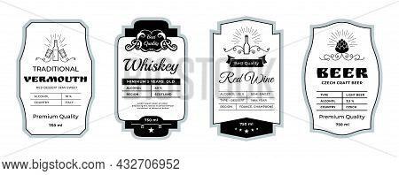 Vintage Alcohol Label. Minimalistic Stickers For Whiskey And Beer Bottles. Wine Or Vermouth Branding