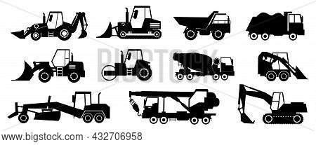 Black Construction Trucks. Heavy Industrial Vehicles Silhouettes. Working Transport Set For Earthwor