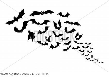 Halloween Bats. Group Of Flying Creepy Monster Animals. Black Silhouettes Of Scary Vampires Flock. G