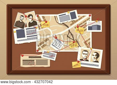 Investigation Board. Crime Research. Blackboard With Photos For Information Collection Or Work Organ
