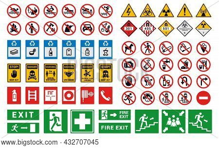 Safety Sign. Factory And Construction Health Or Security Caution Symbols. Bright Hazard Attention An