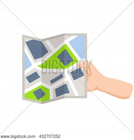 City Map In Hand. Navigation And Route Search. Tourism And Travel. Paper Map Of City Streets. Flat C