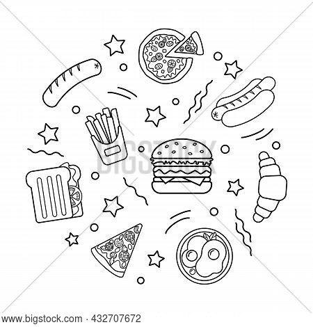 Set Of Simple Black And White Icons Fast Food. Hamburger, Hot Dog, French Fries, Pizza, Croissant. S