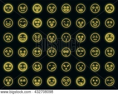 Smiling Faces Icons Set. Outline Set Of Smiling Faces Vector Icons Neon Color On Black