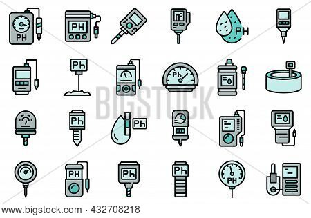 Ph Meter Icons Set. Outline Set Of Ph Meter Vector Icons Thin Line Color Flat Isolated On White