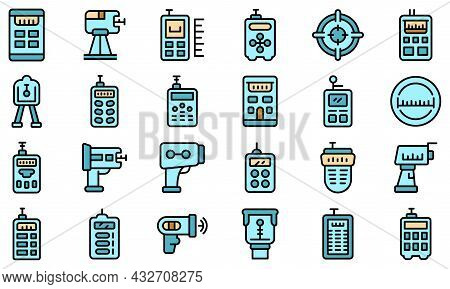 Laser Meter Icons Set. Outline Set Of Laser Meter Vector Icons Thin Line Color Flat Isolated On Whit