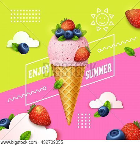 Realistic Detailed 3d Ice Cream Enjoy Summer Ads Banner Concept Poster Card. Vector Illustration Of