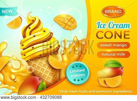 Realistic Detailed 3d Sweet Mango Ice Cream Cone Horizontal Ads Banner Concept Poster Card. Vector I