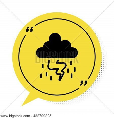 Black Storm Icon Isolated On White Background. Cloud And Lightning Sign. Weather Icon Of Storm. Yell