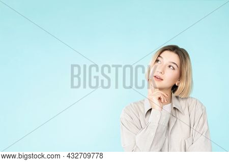 Puzzled Woman. Ambivalence Decision. Make Choice. Advertising Background. Thoughtful Curious Lady Ha