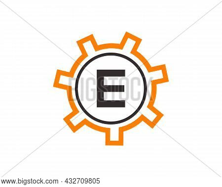 Gear Logo On Letter E. Initial E Gear Letter Logo Design Template. E Gear Engineer Logo