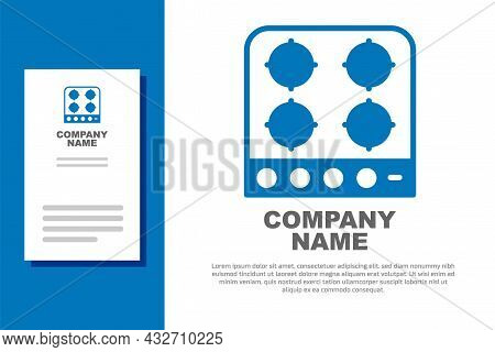 Blue Gas Stove Icon Isolated On White Background. Cooktop Sign. Hob With Four Circle Burners. Logo D