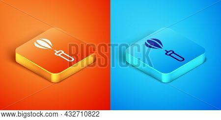 Isometric Kitchen Whisk Icon Isolated On Orange And Blue Background. Cooking Utensil, Egg Beater. Cu