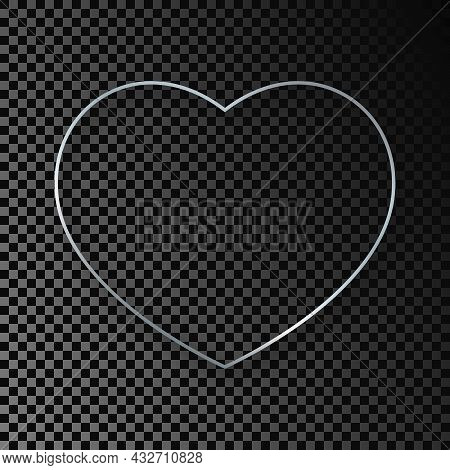Silver Glowing Heart Shape Frame With Shadow Isolated On Dark Transparent Background. Shiny Frame Wi