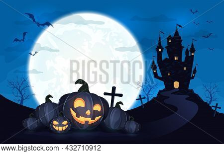 Pumpkins In Witch's Hat On Blue Moon Background With Dark Scary Castle. Holiday Card With Jack O Lan