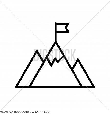 Vector Challenge Icon Isolated On White Background. Mountains With Flag On A Peak As Aim Achievement
