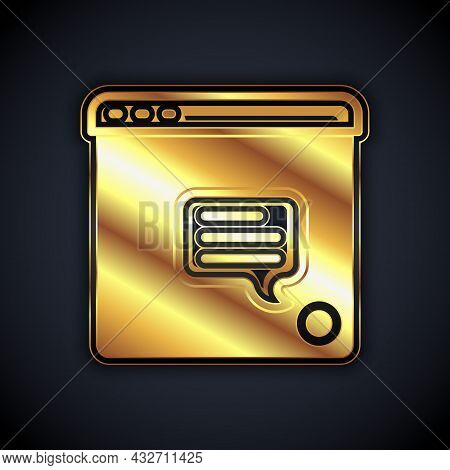 Gold New Chat Messages Notification Icon Isolated On Black Background. Smartphone Chatting Sms Messa