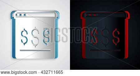 Paper Cut Online Shopping On Screen Icon Isolated On Grey And Black Background. Concept E-commerce,