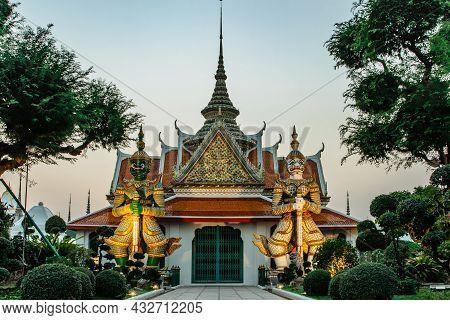 Ordination Hall Next To Buddhist Temple Wat Arun In Bangkok.thailand Landmark.colorful Porcelain Sta