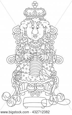 Queen In Solemn Royal Dress Sitting On Her Royal Throne And Knitting A Warm Striped Scarf At Leisure