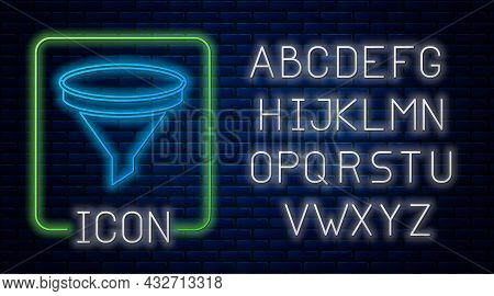 Glowing Neon Funnel Or Filter Icon Isolated On Brick Wall Background. Neon Light Alphabet. Vector