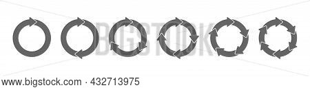 Set Of Circular Arrows. Circular Motion. The Icon For Reloading, Repeating, Rotating, Or Performing