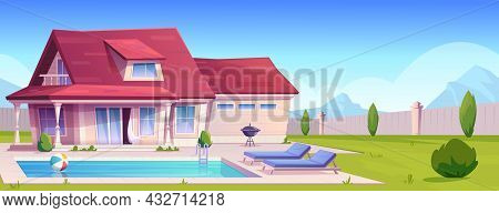 Suburban House, Residential Cottage, Real Estate Countryside Building Exterior. Two Storey Dwelling