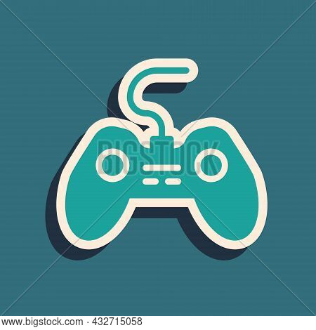 Green Gamepad Icon Isolated On Green Background. Game Controller. Long Shadow Style. Vector