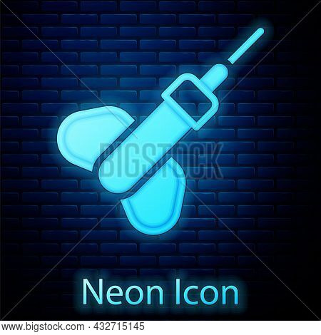 Glowing Neon Dart Arrow Icon Isolated On Brick Wall Background. Vector