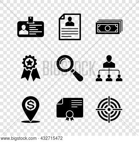 Set Identification Badge, Resume, Stacks Paper Money Cash, Cash Location Pin, Certificate Template A