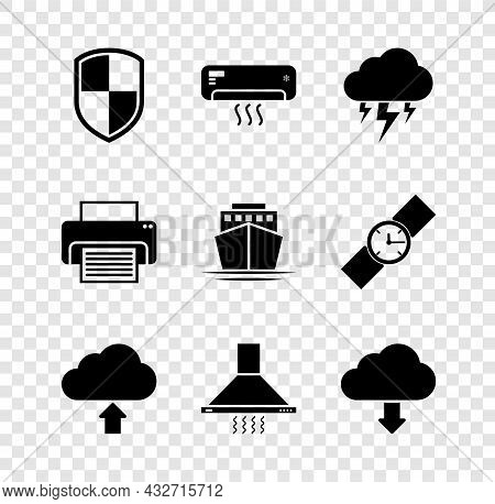 Set Shield, Air Conditioner, Storm, Cloud Upload, Kitchen Extractor Fan And Download Icon. Vector