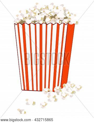 Popcorn In A Paper Bag - Vector Full Color Illustration. A Full Striped Red Paper Bag With Popcorn S