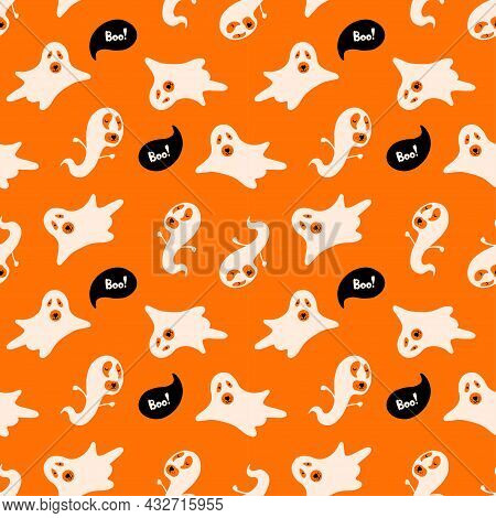 Halloween Vector Seamless Pattern With Cute Characters. Dogs Wearing Ghosts Costumes And Boo Letteri
