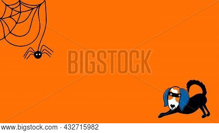 Halloween Theme Cartoon Style Web Banner. Layout Template With Spider, Spiderweb And Dog. Abstract B