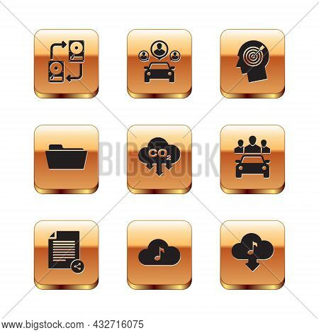 Set Data Exchange With Hhd, Share File, Music Streaming Service, Co2 Emissions Cloud, Folder And Hea