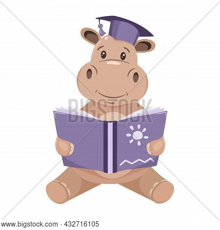 Cute Hippo Holds A Book, Reads, Childrens Vector Illustration.