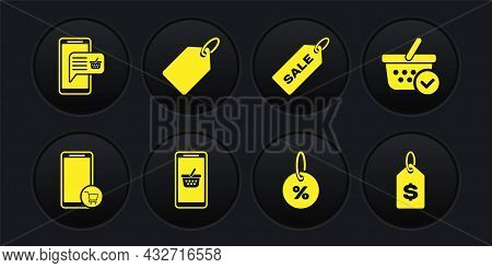 Set Mobile And Shopping Cart, Shopping Basket With Check Mark, Discount Percent Tag, Price Sale, Lab